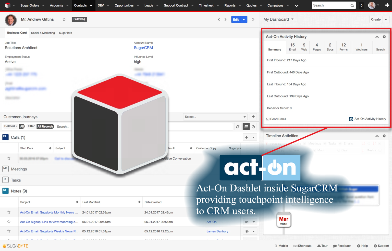 Act-on Dashlet inside SugarCRM providing touchpoint intelligence to CRM users.