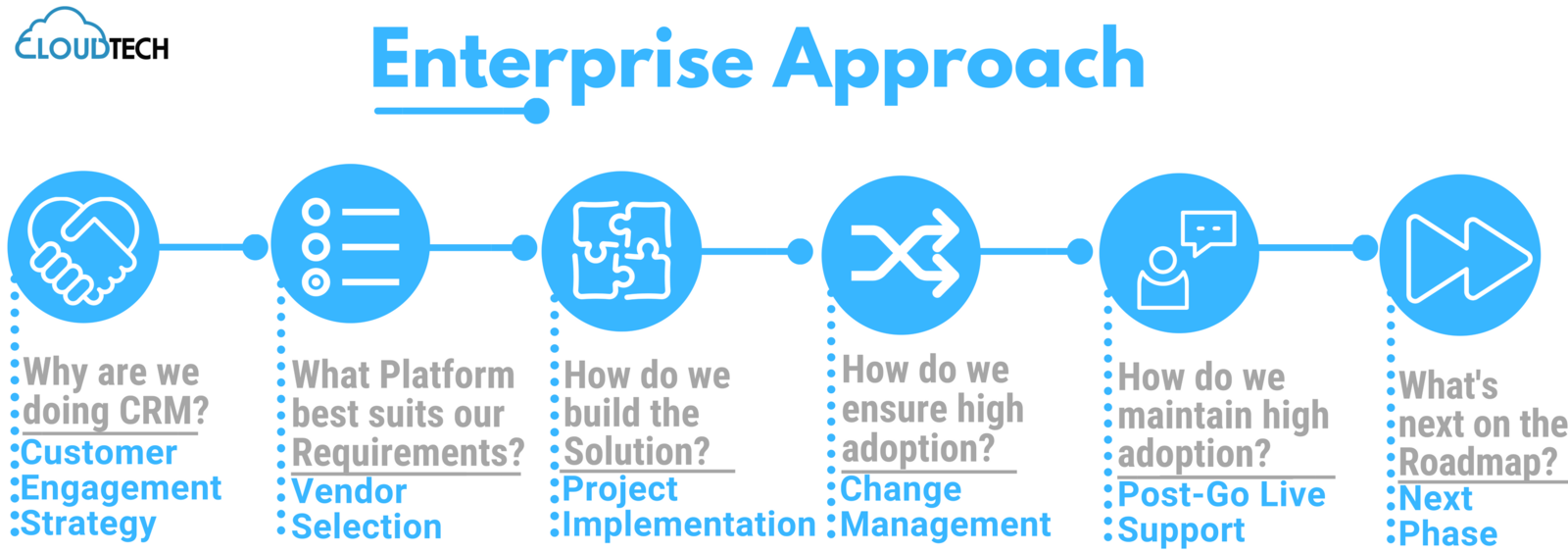 Enterprise Approach: Customer Engagement Strategy, Vendor Selection, Project Implementation, Change Management, Post-Go Live Support, Next Phase