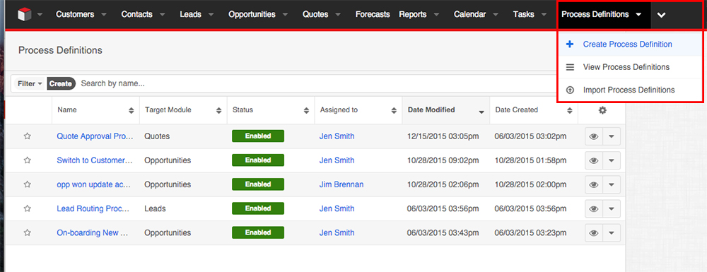 SugarCRM configurable user dashboards.