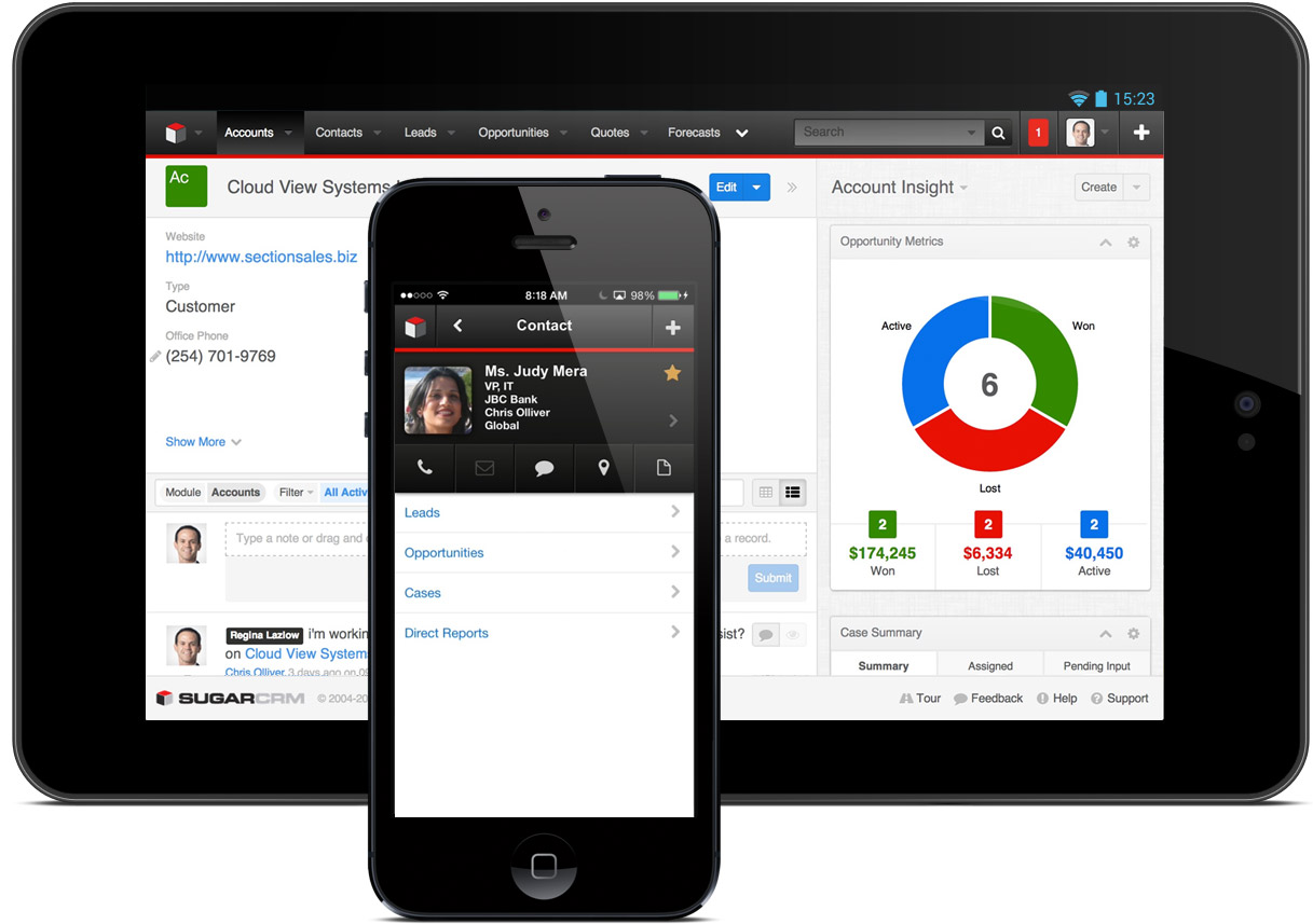 SugarCRM Mobile apps for Smartphone and Tablets.
